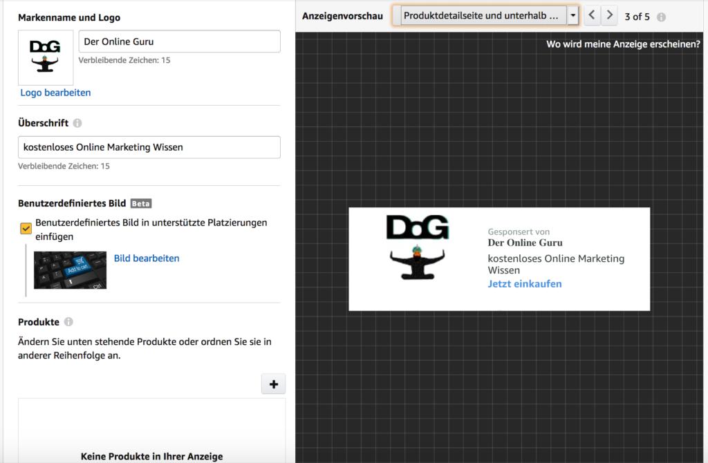 Sponsored Brands Beispiel-Ad auf Produktdetailseite